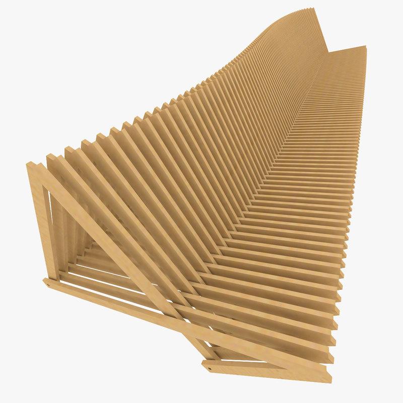 3D rhino parametric bench compact