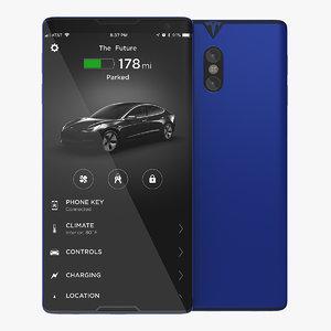 3D tesla phone concept blue