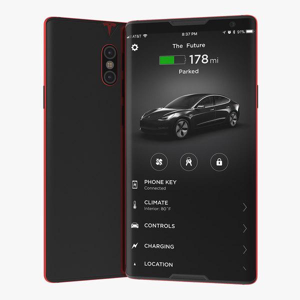 3D tesla phone concept red model