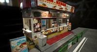 3D japanese kebab stand
