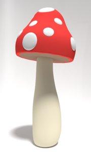3D model tall mushroom