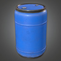 Blue Plastic Drum (Construction) - PBR Game Ready