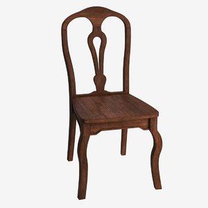 wood walnut dining chair 3D