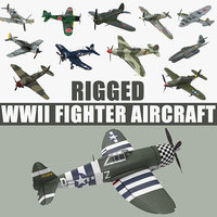 WWII Rigged Fighter Aircraft 3D Models Collection
