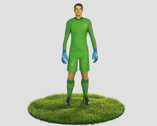 3D ready football soccer goalkeeper