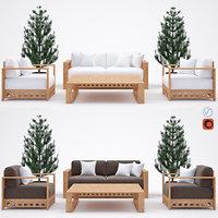 3D set outdoor furniture meridiani model