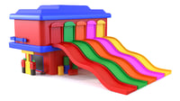 Toy garage with slide