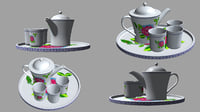 3D model teapot set