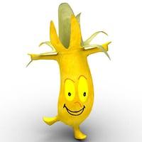 cartoon banana 3D model