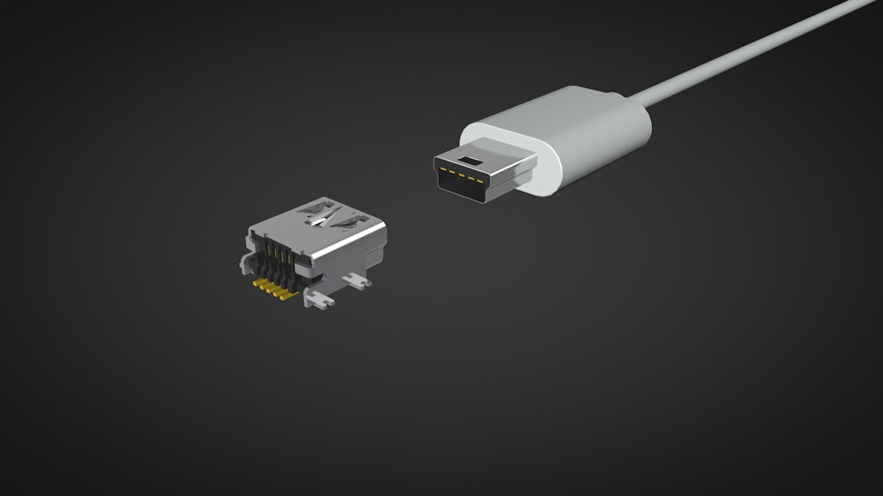 3D connector mini usb model