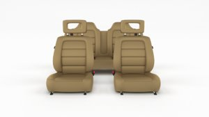 3D generic brown leather car seats model