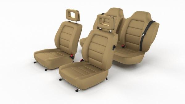 3D generic brown leather car seats model