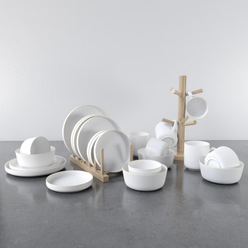 white gold dish set model