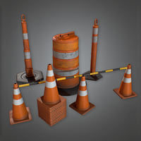 Road Caution Pylons Set (Construction) - PBR Game Ready