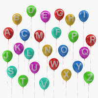 alphabet balloons ribbons 3D model