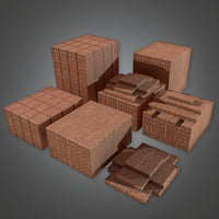 Brick Palette Stack (Construction) - PBR Game Ready