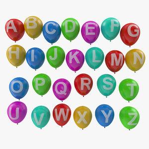 alphabet balloons 3D model