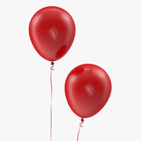 3D red balloon ribbon
