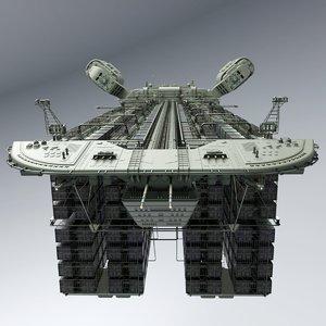 3D sci-fi cargo container ship