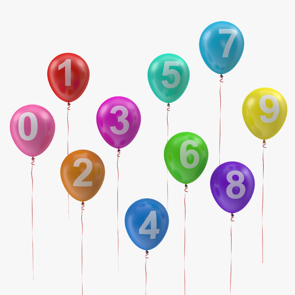 3D air balloons set numbers model