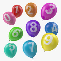 air balloons numbers 3D