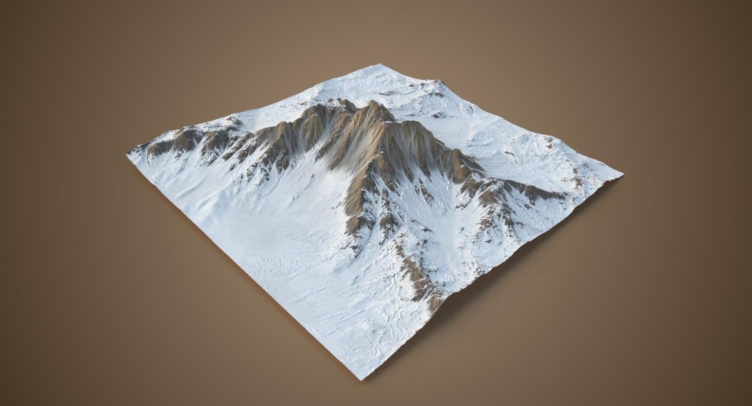 snowy mountain -2 snow model