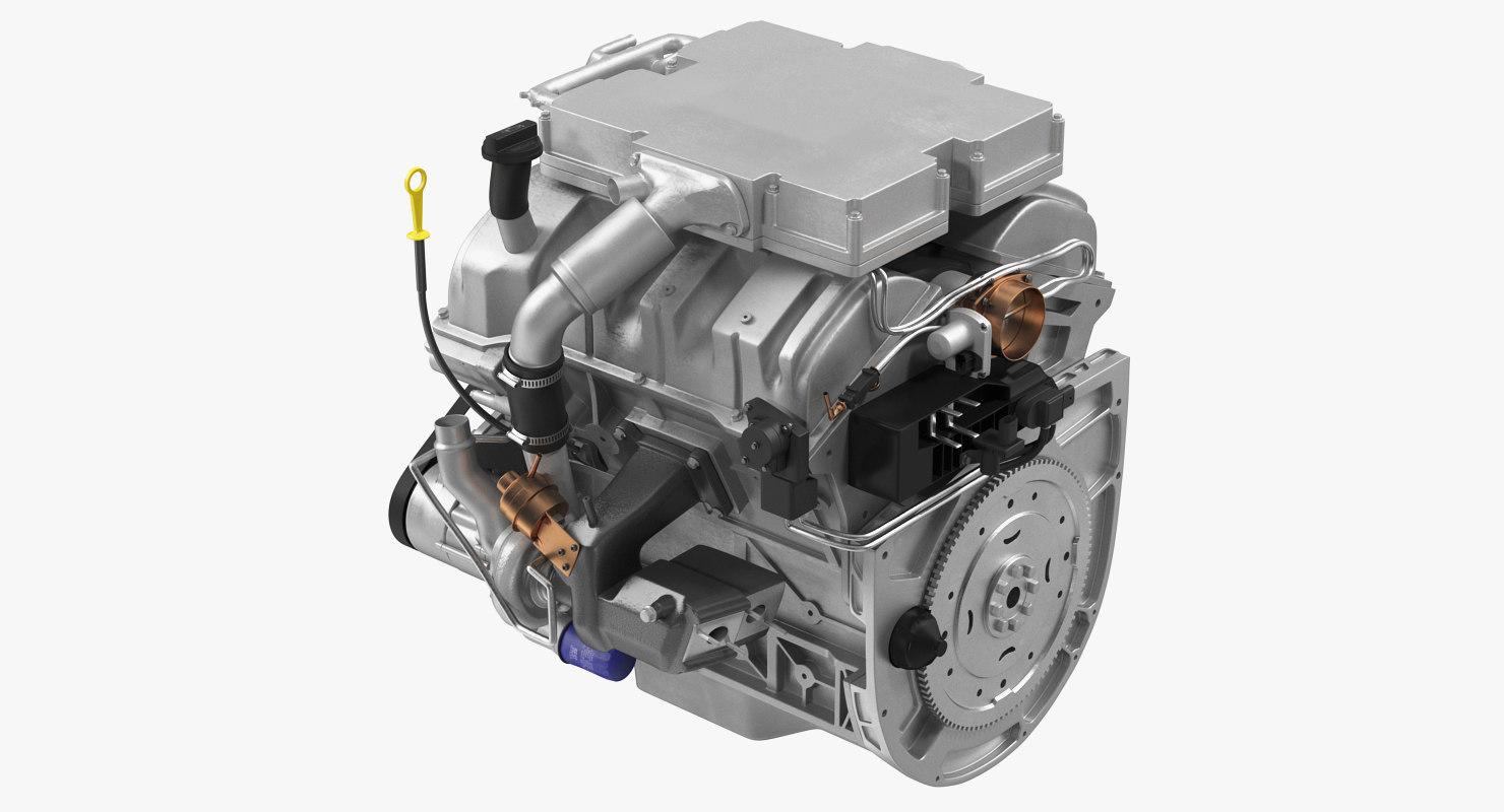3D model v6 car engine 3