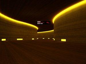 interior hallway rendered 3D