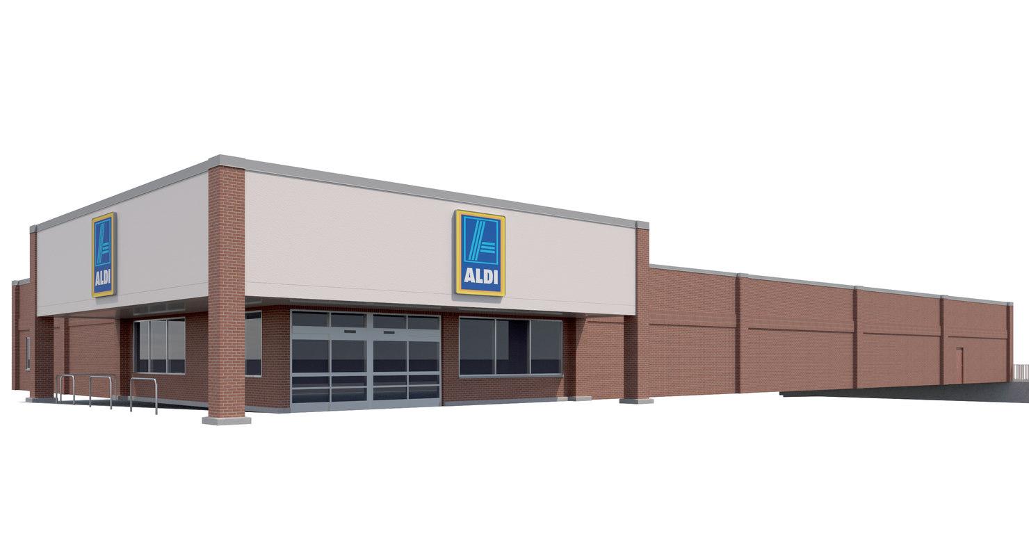 3D exterior retail aldi grocery store