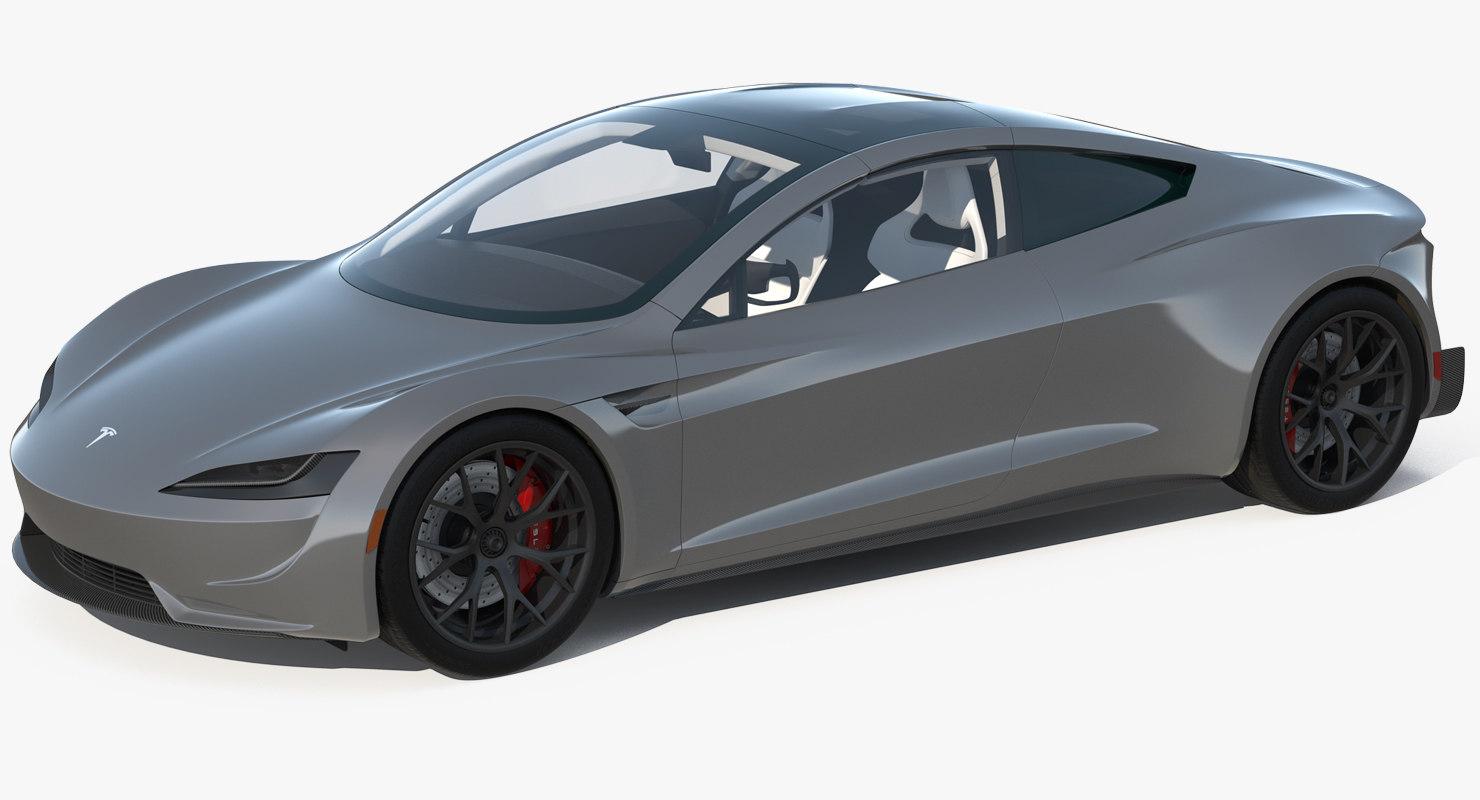 3D tesla roadster simple interior model