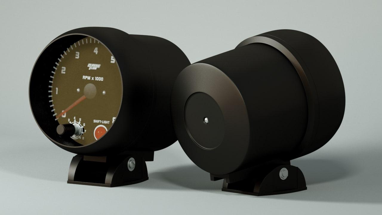 3D model tachometer performance cars