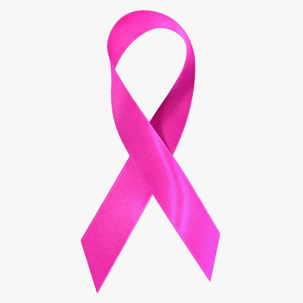 pink breast cancer ribbon 3D model