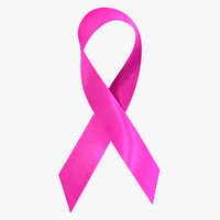 pink breast cancer ribbon 3D model