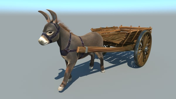 3D donkey rigged fur