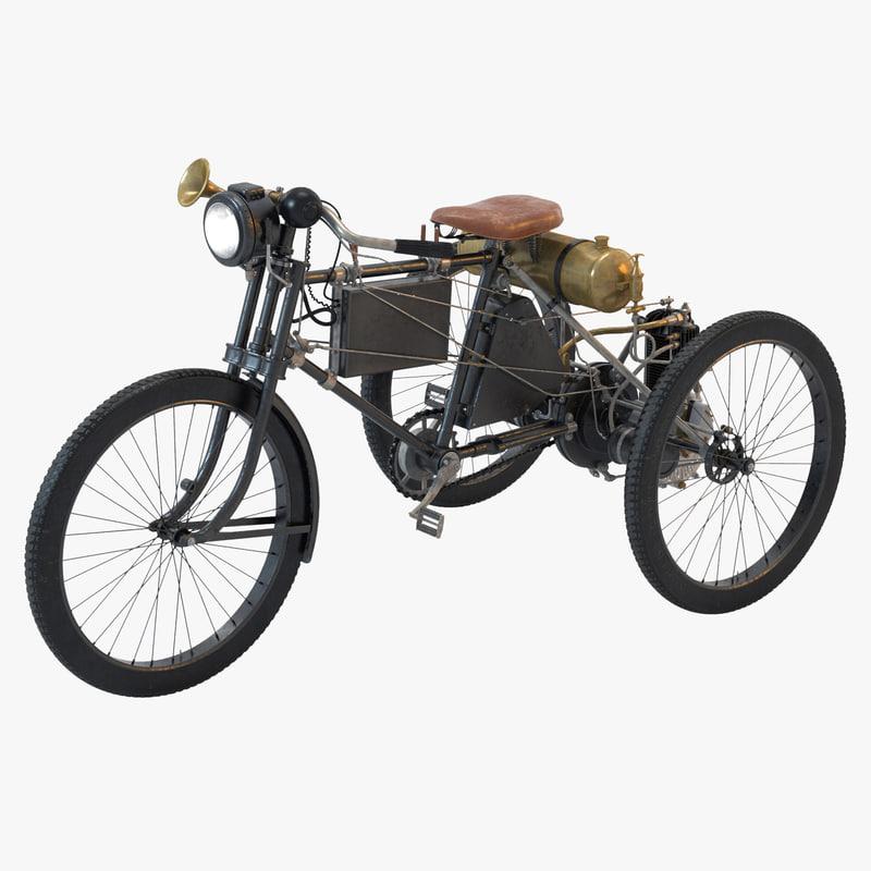 1900 peugeot trike motorcycle motor 3D model