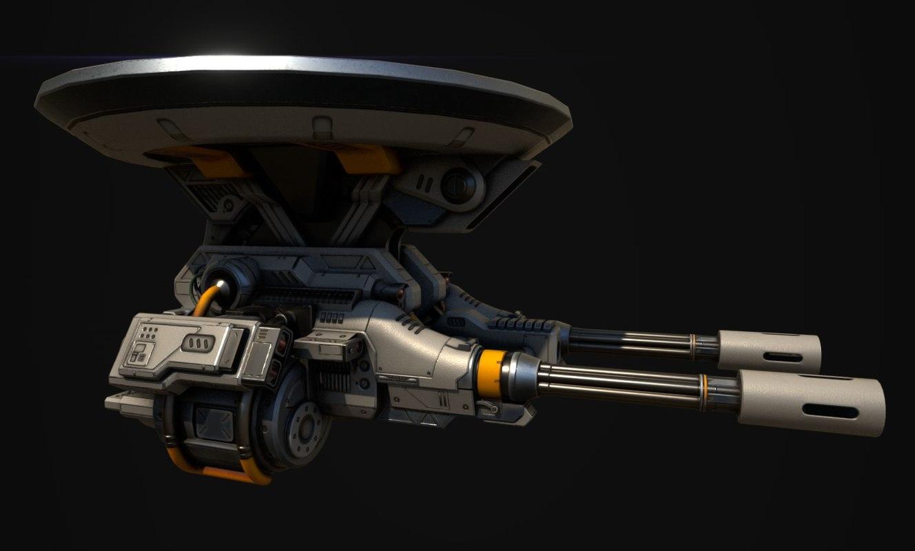 mounted gatling gun 3D model
