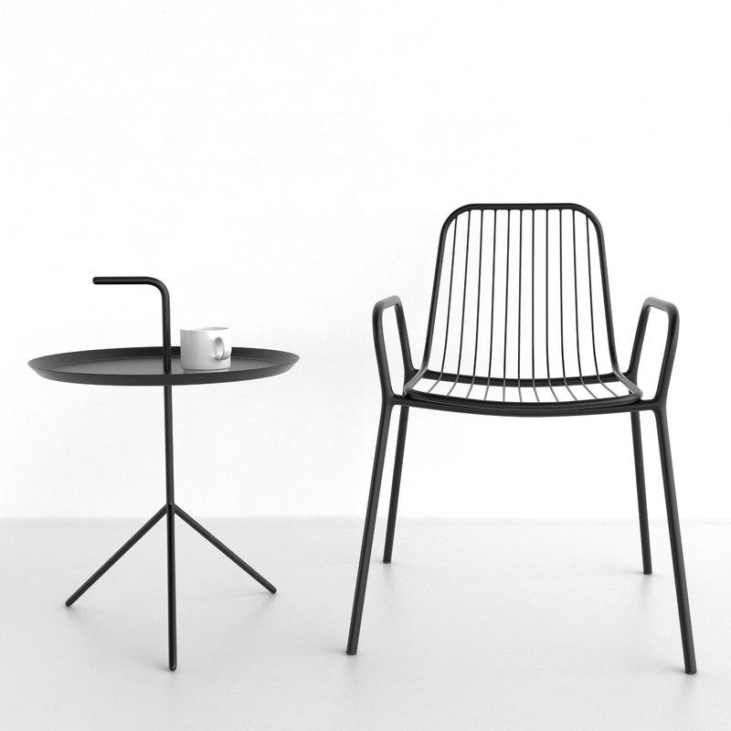 steel armchair table 3D