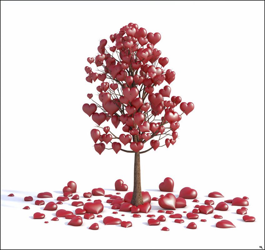3D tree valentine love model
