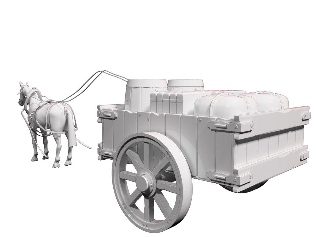 horse wagon cart 3D