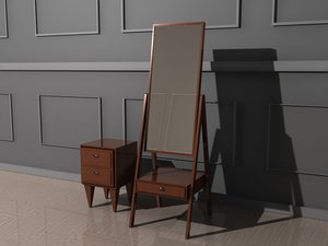3D dresser mirror drawer model
