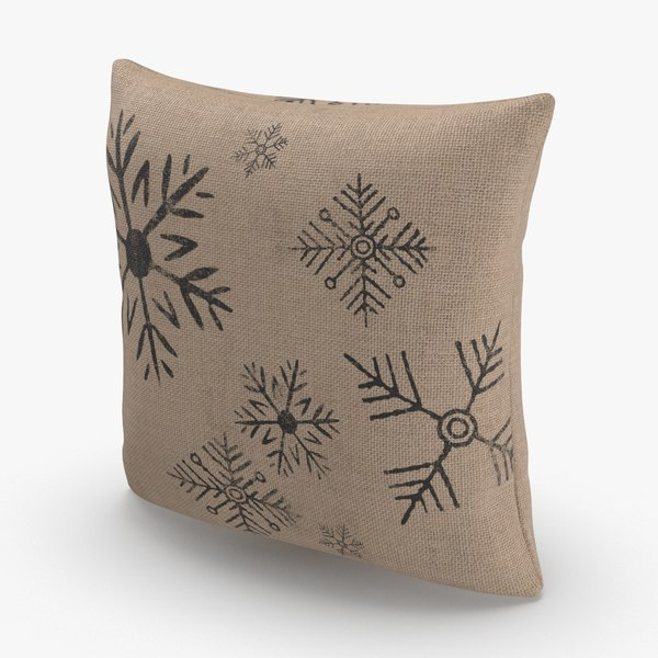 christmas-pillows---brown-snowflake 3D