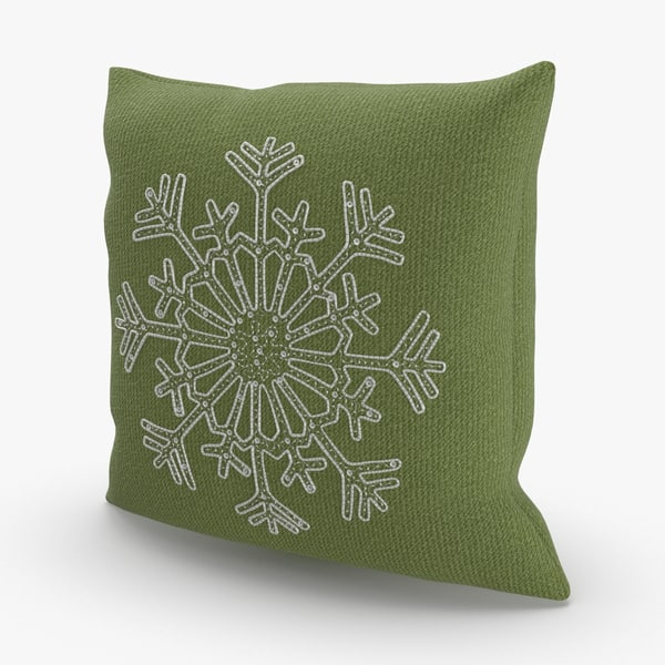 3D model christmas-pillows---green-snowflake