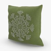 Christmas Pillows Green Snowflake
