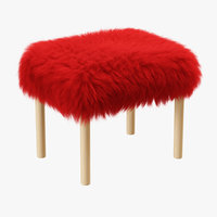 wool carys sheepskin footstool 3D model