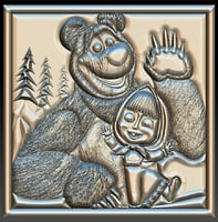 Masha and the Bear STL for CNC Router 3D model
