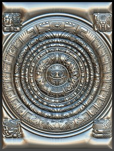 3D mayan calendar stl cnc model