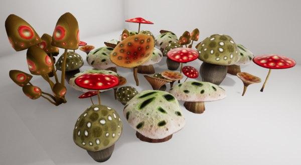 3D mushrooms shrooms