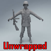 unwrapped officer soldier 3D