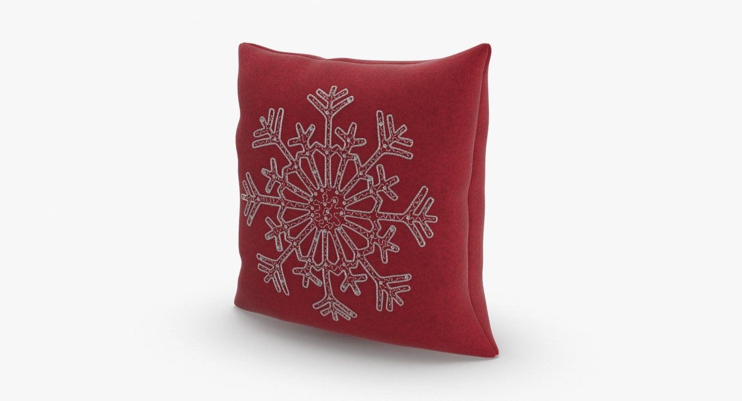 3D model christmas-pillows---red-snowflake