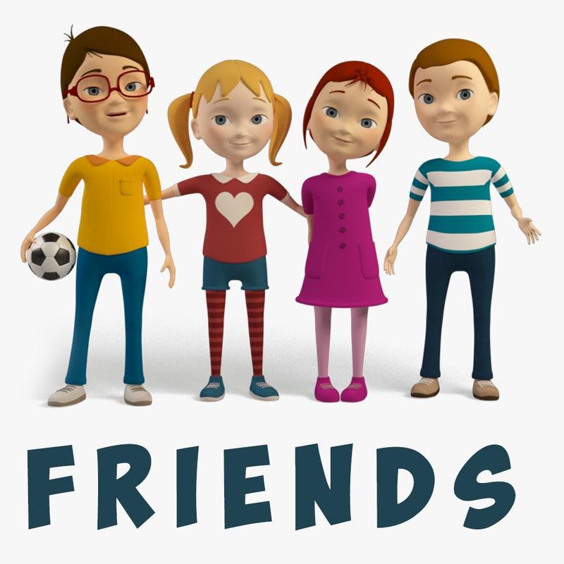 3D cartoon friends kids -
